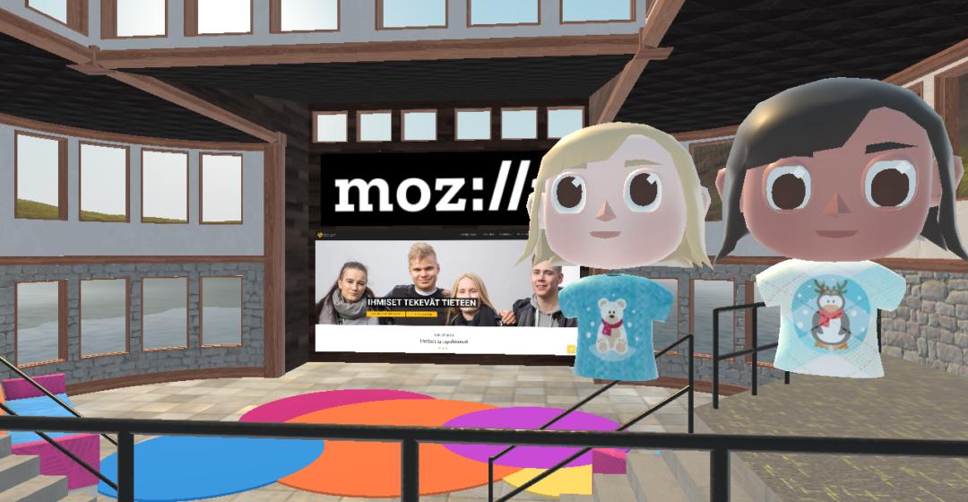 Kuva kahdesta avatarista virtuaalitilassa